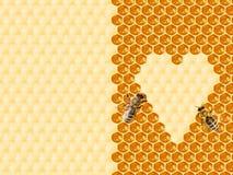 Honingraat in hartvorm die wordt gesneden stock afbeelding