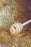 Honingraten met honing en houten honingsdipper Stock Fotografie