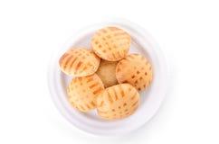 Honingscakes op plaat die op wit wordt geïsoleerd Royalty-vrije Stock Foto's