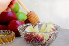 Honingsdipper, honing en heldere levendige gekleurde appelen stock foto