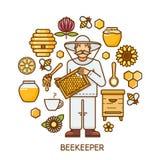 Honingselement in ronde vorm wordt geplaatst die Bijenkorf, imker, bloemen en de klaar inzameling van productpictogrammen Vlak ge Stock Foto