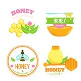 Honingskentekens Embleemelementen Bijenontwerp Royalty-vrije Stock Afbeeldingen