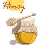 Honingskruik en houten dipper stok Stock Foto's