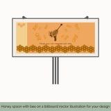 Honingslepel met bij op een aanplakbord Stock Foto