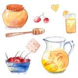 Honingspot met houten dipper, kruik en glas van oranje limonade, koekje en kom met kersen Reeks van hand getrokken waterverfvecto Royalty-vrije Stock Foto
