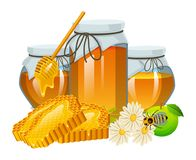Honingsreeks, bij en bijenkorf, lepel en honingraat, bijenkorf en bijenstal Natuurlijk landbouwproduct imkerij of tuin, bloem royalty-vrije illustratie