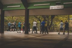 Honk Kong, em novembro de 2018 - parkHonk Kong de Nan Lian Garden, em novembro de 2018 - fu do kunf que treina o parque da cidade imagens de stock royalty free