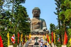 Honk Kong, SAR della Cina - può, 2019: Grande Tian Tan Buddha al Po Lin Monastery in Hong Kong durante il giorno soleggiato di es fotografie stock libere da diritti