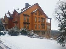 Honka palace Ukraine winter stock images