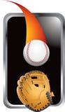 Honkbal dat in handschoen in zilveren frame gaat Royalty-vrije Stock Foto