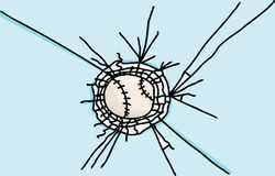Honkbal in Glas wordt geplakt dat royalty-vrije illustratie