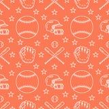 Honkbal, het spel vector naadloos patroon van de softballsport, oranje achtergrond met lijnpictogrammen van ballen, speler, hands Royalty-vrije Stock Afbeeldingen