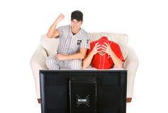 Honkbal: Kerels die voor Verschillende Teams wortel schieten Stock Foto's