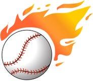 Honkbal met vlammen Stock Afbeeldingen