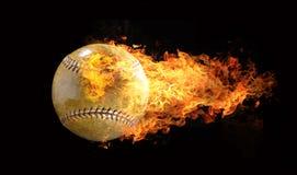 Honkbal op vlammen Stock Foto's