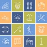 Honkbal, pictogrammen van de het spel de vectorlijn van de softballsport Bal, knuppel, gebied, helm, speler, vangermasker Lineair Stock Foto