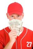Honkbal: Speler die Gewaaid uit Geld steunen stock foto