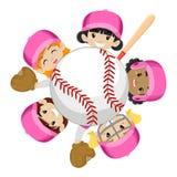 Honkbal Team Girls rond de Bal vector illustratie