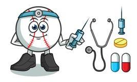 Honkbal vector het beeldverhaalillustratie van de artsenmascotte royalty-vrije illustratie