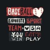 Honkbal vectorillustratie voor de V.S. Schets het van letters voorzien, favoriete sport, wint u, team, grunge, drukontwerp voor k Stock Foto