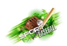 Honkbalaffiche met een honkbal Honkbalspelen reclame Aankondiging van een sportieve gebeurtenis Royalty-vrije Stock Foto's