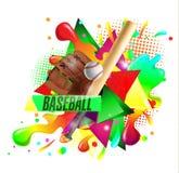Honkbalaffiche met een honkbal Honkbalspelen reclame Aankondiging van een sportieve gebeurtenis Stock Foto