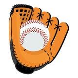 Honkbalhandschoen met bal stock illustratie