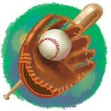 Honkbalhandschoen met knuppel en bal Royalty-vrije Stock Foto's