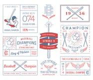 Honkbalkentekens en pictogrammen Royalty-vrije Stock Foto's