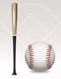 Honkbalknuppel, Bal, Gebiedselementen Royalty-vrije Stock Fotografie