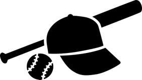 Honkbalknuppel met bal Stock Fotografie