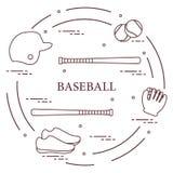 Honkbalknuppels, handschoen, ballen, helm, schoenen Stock Afbeeldingen