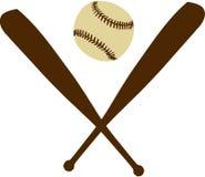 Honkbalknuppels met Honkbal Stock Afbeeldingen