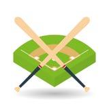 Honkbalontwerp, sport en leveringsillustratie Stock Afbeelding
