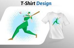 Honkbalspeler in groene eenvormig met knuppel op de blauwe druk van de cirkelt-shirt Spot op het malplaatje van het t-shirtontwer Royalty-vrije Stock Foto's