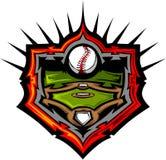Honkbalveld met het Malplaatje van het Beeld van het Honkbal stock illustratie