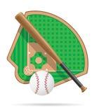 Honkbalveld vectorillustratie Stock Afbeelding
