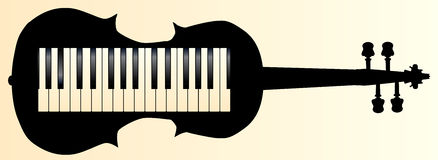 Honkeytonk Fiddle. A piano keybboard set into a violin silhouette Stock Photos