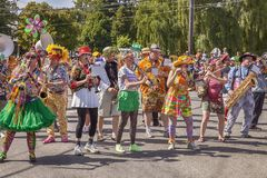 Honkfest Band In Fremont Parade Stock Image