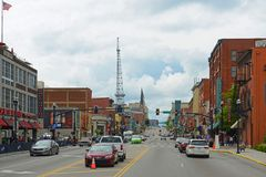 Broadway, Nashville, Tennessee, USA. Honky tonk Bars and Bridgestone Arena on historical Broadway in downtown Nashville, Tennessee, USA. Lower Broadway is famous Royalty Free Stock Photography