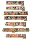 Honnêteté, empathie, compassion Photos libres de droits