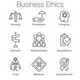 Honnêteté réglée de l'icône W d'ensemble d'éthique d'affaires, intégrité, Commitmen illustration de vecteur