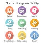 Honnêteté réglée, intégrité, et col de l'icône solide W de responsabilité sociale illustration de vecteur