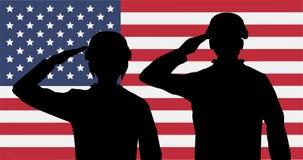 Honnör för amerikanska soldater för kontur på USA-flagga Arkivfoton