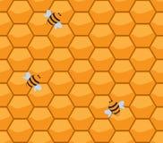 Honneycomb de Orenge con la abeja Foto de archivo