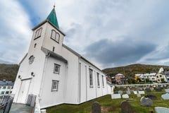 Honningsvag-Kirche in Finnmark-Grafschaft, Norwegen Stockbilder