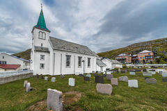 Honningsvag kyrka i det Finnmark länet, Norge Arkivbild