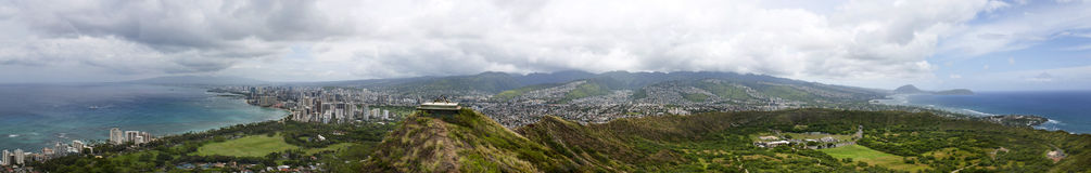 Honolulu from atop Diamond Head Crater Royalty Free Stock Photos