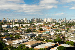 Honolulu Blue Skies Residential Homes Downtown City Skyline Royalty Free Stock Image
