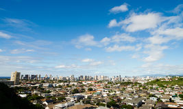 Honolulu Blue Skies Residential Homes Downtown City Skyline Royalty Free Stock Photos